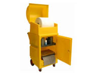 Polyethylene cart storage unit with roll dispenser